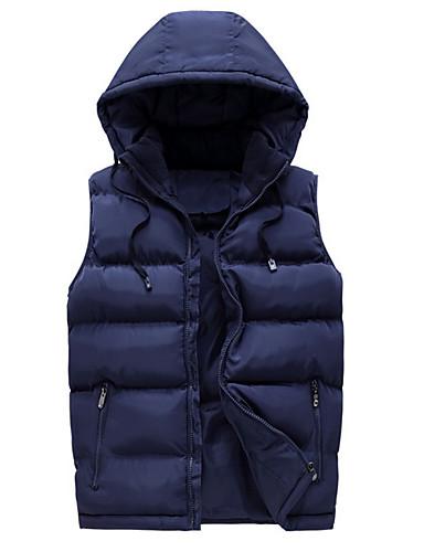 voordelige Heren donsjassen & parka's-Heren Dagelijks Standaard Effen Normaal Vest, Polyester Mouwloos Winter Capuchon blauw / Zwart / Rood XXXXL / XXXXXL / XXXXXXL