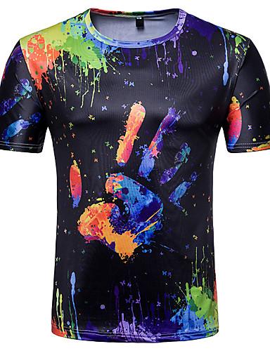 お買い得  メンズTシャツ&タンクトップ-男性用 プリント Tシャツ カラーブロック / グラフィック ブラック L