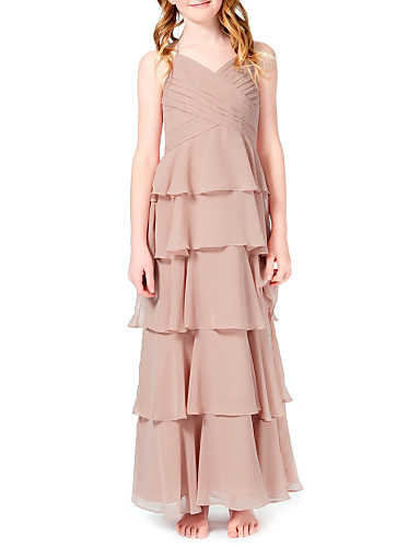 f97dbde96 A-Line Halter Neck Ankle Length Chiffon Junior Bridesmaid Dress with Cascading  Ruffles by LAN TING BRIDE®