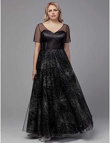 voordelige Grote maten jurken-A-lijn V-hals Tot de grond Tule Formele avonden Jurk met Kristaldetails door TS Couture®