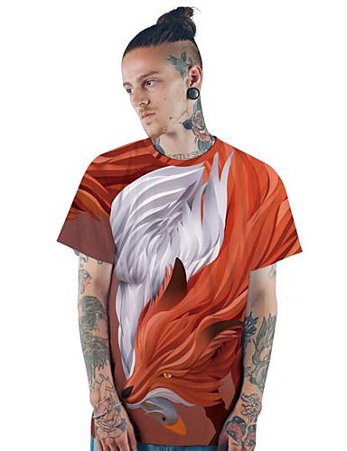 voordelige Heren T-shirts & tanktops-Heren Print EU / VS maat - T-shirt 3D / dier Ronde hals Slank Rood