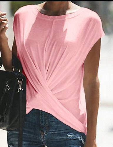 billige Dametopper-Store størrelser T-skjorte Dame - Ensfarget Svart