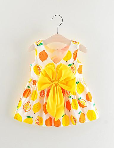 Μωρό Κοριτσίστικα Βασικό Φρούτα Αμάνικο Πάνω από το Γόνατο Βαμβάκι Φόρεμα Κίτρινο