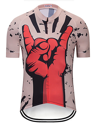 cheap Cycling Clothing-TELEYI Men's Short Sleeve Cycling Jersey Red and White Bike Jersey Top Quick Dry Sports Terylene Mountain Bike MTB Road Bike Cycling Clothing Apparel / Micro-elastic