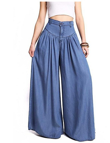 cheap Women's Pants-Women's Basic Bootcut Pants - Solid Colored Blue