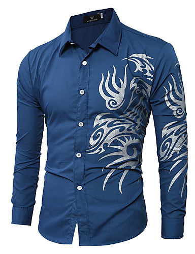 cheap Men's Clothing-Men's Shirt - Geometric / Graphic / Tribal Print Classic Collar Wine L