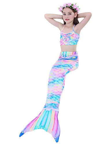 halpa Uinti-cosplay-The Little Mermaid Merenneito Aqua Princess Cosplay-Asut Uima-asut Bikini Tyttöjen Elokuva Cosplay Merenneito alushame Merenneito Sininen Korsetti Briefs Merenneito Fishtail Halloween Karnevaali