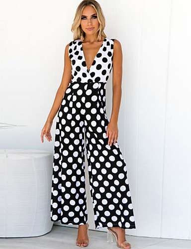 cheap Women's Tops-Women's Kentucky Derby Casual / Daily / Beach Sexy / Street chic Deep V Black Wide Leg Jumpsuit, Polka Dot M L XL