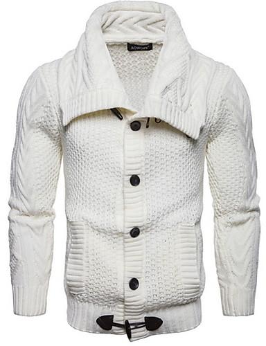 Cosciente Per Uomo Tinta Unita Cardigan Bianco - Nero - Grigio L - Xl - Xxl #07192899