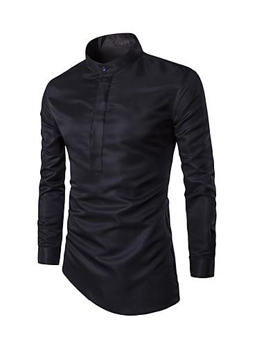 voordelige Herenoverhemden-Heren Overhemd Effen Opstaande boord Wit