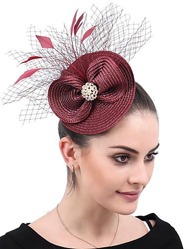 abordables Chapeau & coiffure-Polyester / Filet / PP+ABS Fascinators / Fleurs / Coiffe avec Acrylique / Plume / Fleur 1 Pièce Mariage / Fête / Soirée Casque
