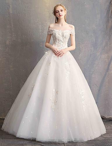 02d6900fbb Báli ruha Aszimmetrikus Földig érő Csipke / Tüll / Csipke szaténon  Made-to-measure esküvői ruhák val vel Rátétek által LAN TING Express