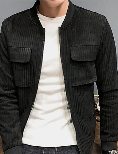 สำหรับผู้ชาย ทุกวัน พื้นฐาน ตก ปกติ แจ๊คเก็ต, สีพื้น คอเสื้อเชิ้ต แขนยาว เส้นใยสังเคราะห์ ใบไม้สีเขียวที่มีสามแฉก / สีดำ XL / XXL / XXXL