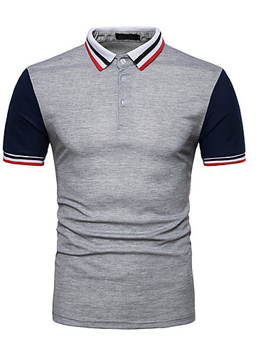 voordelige Herenpolo's-Heren Polo Kleurenblok Overhemdkraag Zwart