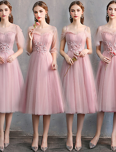 5c11c2e6af331 cheap Bridesmaid Dresses-A-Line Sweetheart Neckline Knee Length Tulle Bridesmaid  Dress with Lace