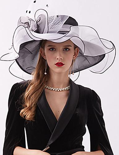 povoljno Vjenčanja i eventi-Organza / Perje Kentucky Derby Hat / Fascinators / Šešir s Perje / Cvijet / U slojevima 1 komad Vjenčanje / Vanjski Glava