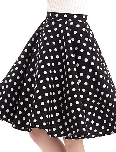 abordables Jupes-Femme Rétro Vintage Coton Balançoire Jupes - Points Polka Noir L XL XXL