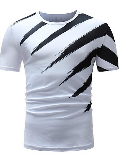 Erkek Yuvarlak Yaka Tişört Çizgili Beyaz