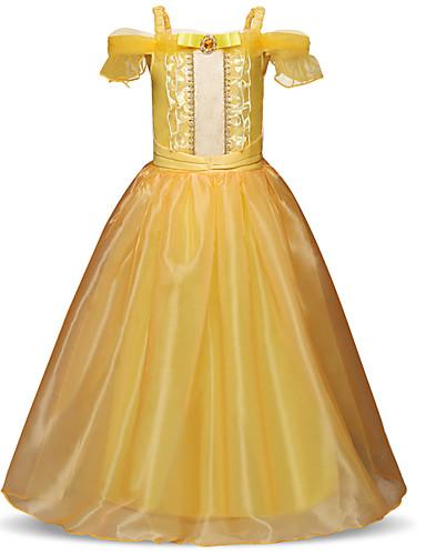 Prinzessin Normallänge Blumenmädchenkleid - Polyester / Chiffon Kurzarm Spaghetti-Träger mit Spitze / Mehrlagiger Rock / Kristalle / Strass durch LAN TING Express