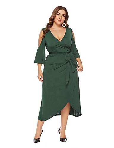 b319a1823ef94 Women s Boho Street chic Chiffon Dress - Solid Colored Green Yellow XXXXL  XXXXXL XXXXXXL