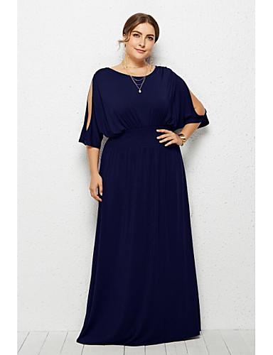 voordelige Maxi-jurken-Dames Standaard Street chic Schede Jurk - Effen Maxi