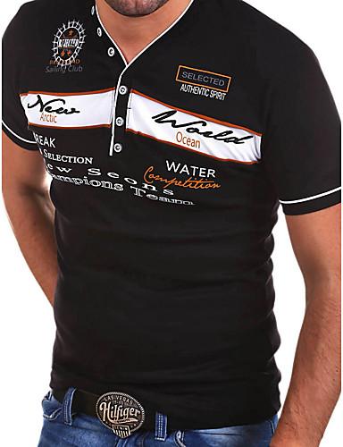 cheap Men's Tees & Tank Tops-Men's EU / US Size T-shirt - Letter Print V Neck Blue