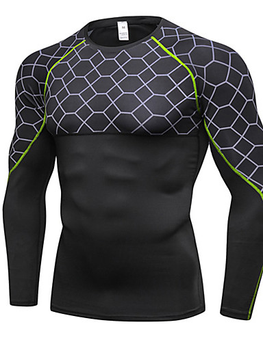 cheap Cycling Clothing-Men's Compression Shirt Long Sleeve Compression Base layer T Shirt Top Lightweight Breathable Quick Dry Soft Sweat-wicking Grey Jacinth +Gray Gray+Green Lycra Road Bike Mountain Bike MTB Basketball