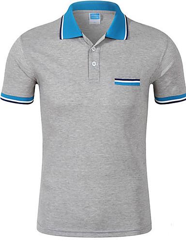 voordelige Herenpolo's-Heren Polo Katoen, Sport Effen Overhemdkraag Geel / Zomer