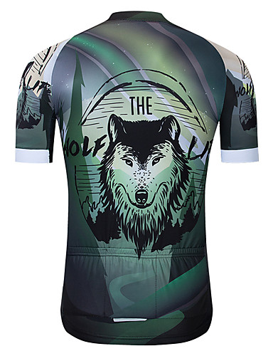 cheap Cycling Clothing-TELEYI Men's Short Sleeve Cycling Jersey - Mineral Green Animal Bike Jersey Top Quick Dry Sports Terylene Mountain Bike MTB Road Bike Cycling Clothing Apparel / Micro-elastic