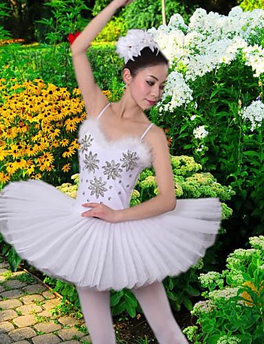 billige Nyheter-Ballet Kjoler / Tutuer & Skjørter Dame Trening / Ytelse Polyester / Netting Fjær / pels / Krystall / Rhinestone Ermeløs Kjole
