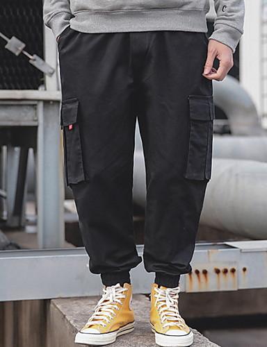 2019 Nuovo Stile Per Uomo Moda Città Chino Pantaloni - Tinta Unita Nero #07212720 Sapore Puro E Delicato