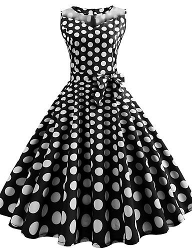 abordables Robes Femme-Femme Rétro Vintage Basique Midi Balançoire Robe - Noeud Maille Imprimé, Points Polka Bloc de Couleur Noir L XL XXL Coton Sans Manches
