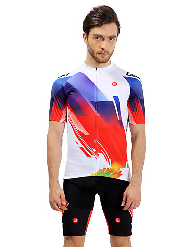 cheap Cycling Clothing-LEOBAIKY Men's Short Sleeve Cycling Jersey with Shorts - Red and White Black / Red Bike Jersey Padded Shorts / Chamois Clothing Suit Breathable Quick Dry Sports Lycra Clothing Apparel / Stretchy