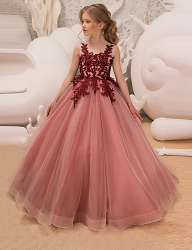 a2c3f7c17d4 Princess Long Length Flower Girl Dress - Lace   Tulle Sleeveless Jewel Neck  with Appliques   Lace   Belt by LAN TING Express