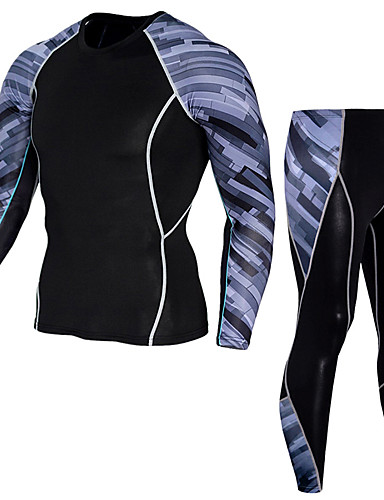 cheap Cycling Clothing-Men's Compression Suit Thermal Underwear Set Long Sleeve Compression Base layer Pants T Shirt Plus Size Lightweight Breathable Quick Dry Soft Sweat-wicking Grey Red+Blue Rough Black Winter Road Bike
