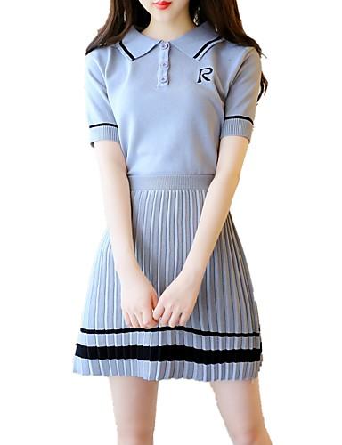 d80ddfd5ff5 Γυναικεία Βασικό Κομψό Γραμμή Α Πλεκτά Φόρεμα - Συνδυασμός Χρωμάτων, Πλισέ  Πάνω από το Γόνατο