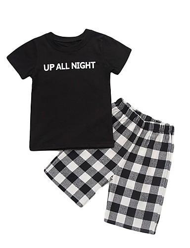 30683c790 مجموعة ملابس قطن كم قصير طباعة طباعة رياضي Active / أساسي للصبيان طفل صغير