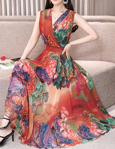 c1e554481c365 2019 Hot Sale Women Holiday Casual Daily Beach Dresses Chiffon Robe Femme  Vestidos Flower Print Floral Dresses