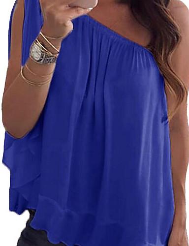 baratos Blusas Femininas-Mulheres Blusa Frufru / Assimétrico, Sólido Ombro a Ombro Solto Verde Tropa / Primavera / Verão / Outono