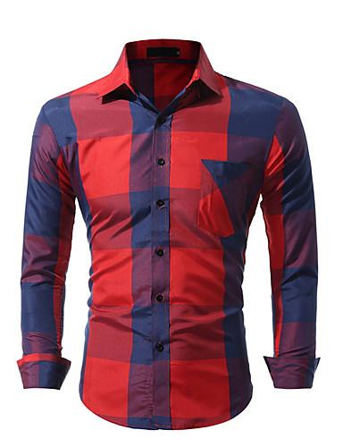voordelige Herenoverhemden-Heren Overhemd Blokken blauw