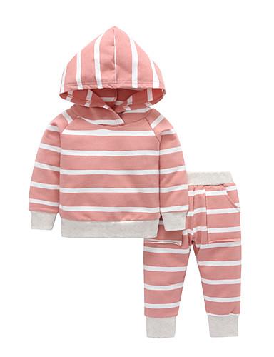 Μωρό Κοριτσίστικα Καθημερινό / Βασικό Ριγέ Μακρυμάνικο Κανονικό Βαμβάκι Σετ Ρούχων Ρουμπίνι