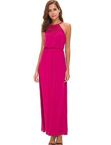 Women's Basic A Line Dress - Solid Colored Patchwork Black Fuchsia M L XL