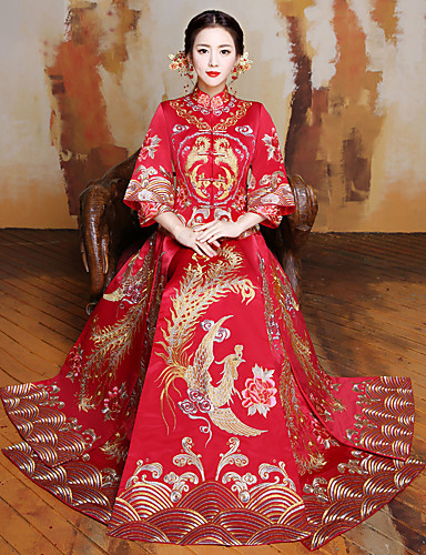 billige Etniske og kulturelle Kostymer-Voksne Dame Designet i Kina Kinesisk Stil Wasp-innsnevrede Cheongsam Til Ytelse Forlovelsesfest Utdrikningslag Polyester Lang Lengde Cheongsam