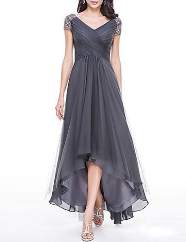 رخيصةأون فساتين طويلة-فستان نسائي قياس كبير متموج طويل للأرض لون سادة V رقبة / مناسب للحفلات / خصر عالي