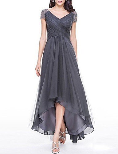 cheap Maxi Dresses-2019 New Arrival Dresses Women's Plus Size Party Maxi Swing Dress Elbise Vestidos Robe Femme - Solid Colored V Neck Summer Navy Blue Gray Purple XXXL XXXXL XXXXXL / High Waist