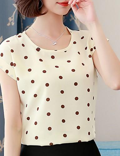 billige Dametopper-T-skjorte Dame - Geometrisk Navyblå XXL