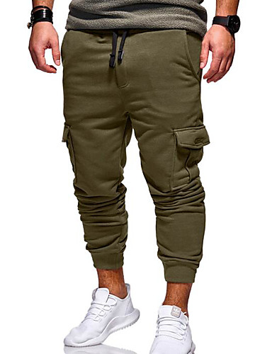 9c084d21a Men's Active / Basic Daily Slim Chinos / Sweatpants Pants - Solid Colored  Army Green Khaki Light gray XXL XXXL XXXXL