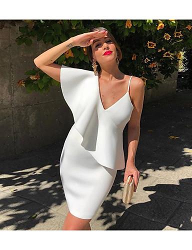 Abito Da Donna Al Ginocchio Bianco S M L Xl #07302053