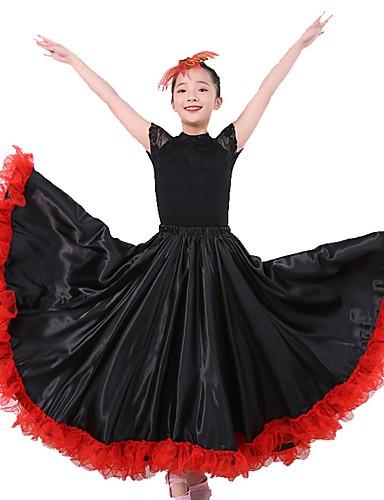 a28926592437 Latin Dance Bottoms / Flamenco Girls' Performance Matte Satin Gore Natural  Skirts