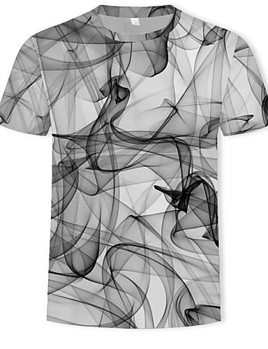 cheap Men's Tees & Tank Tops-Men's Plus Size Cotton T-shirt - 3D Print Round Neck Gray XXXL